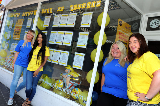 Kelly Hughes, Vicky May, Sarah Elvidge and Lauren Shepherd from Ambitions Personnel with their entry in to the Tour of Britain Best Dressed Window competition which they put together with help from manager Lynsey Butler.